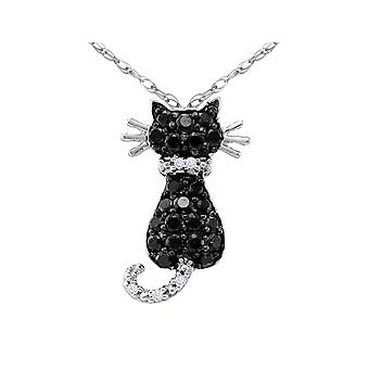 White and Black Diamond Cat Pendant Necklace 1/3 Carat (ctw) in 10K White Gold with Chain