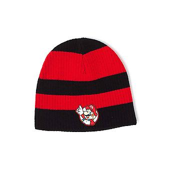 Nintendo Beanie Hat Super Mario Striped Patch logo new Official