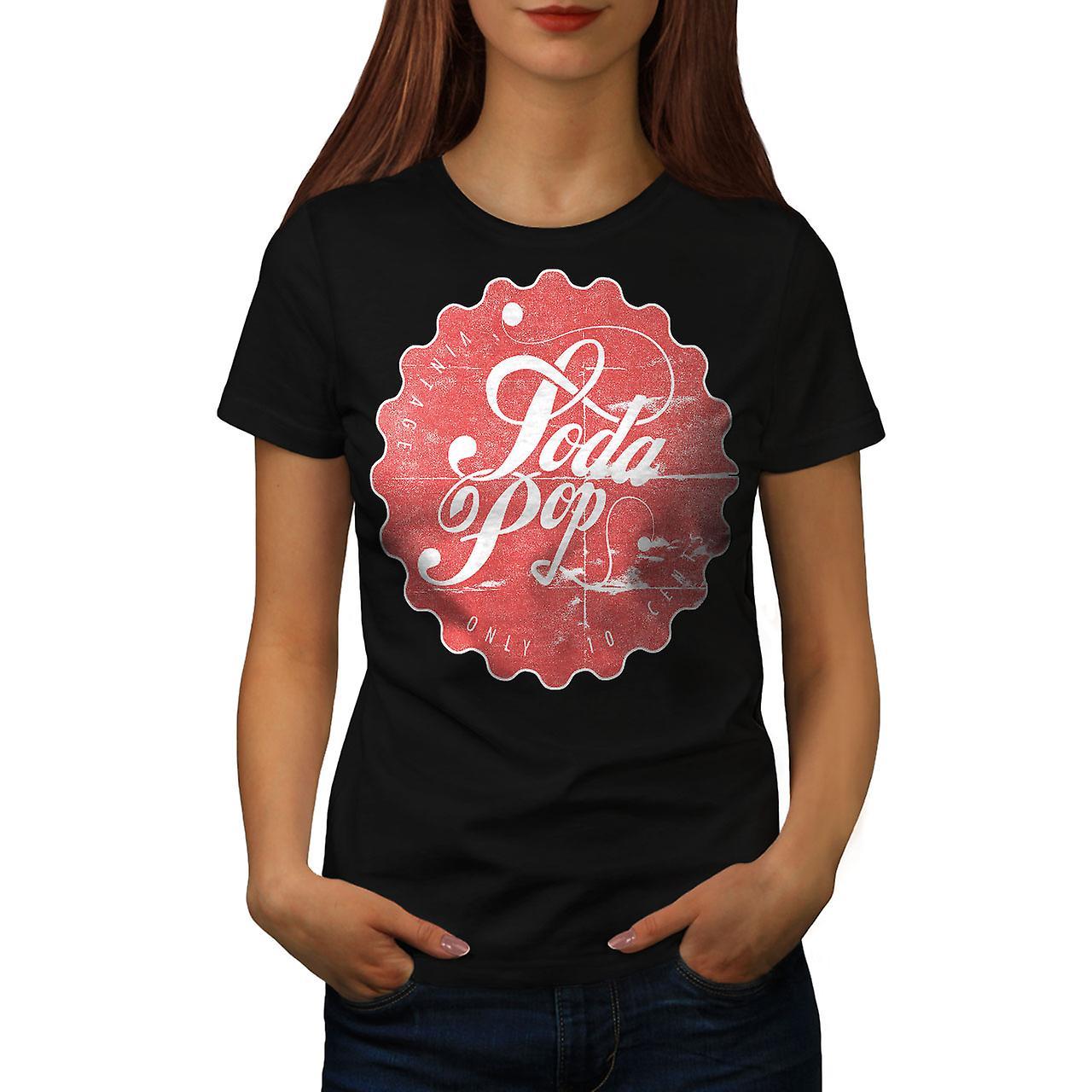 Soda Pop Drink Vintage Women Black T-shirt | Wellcoda