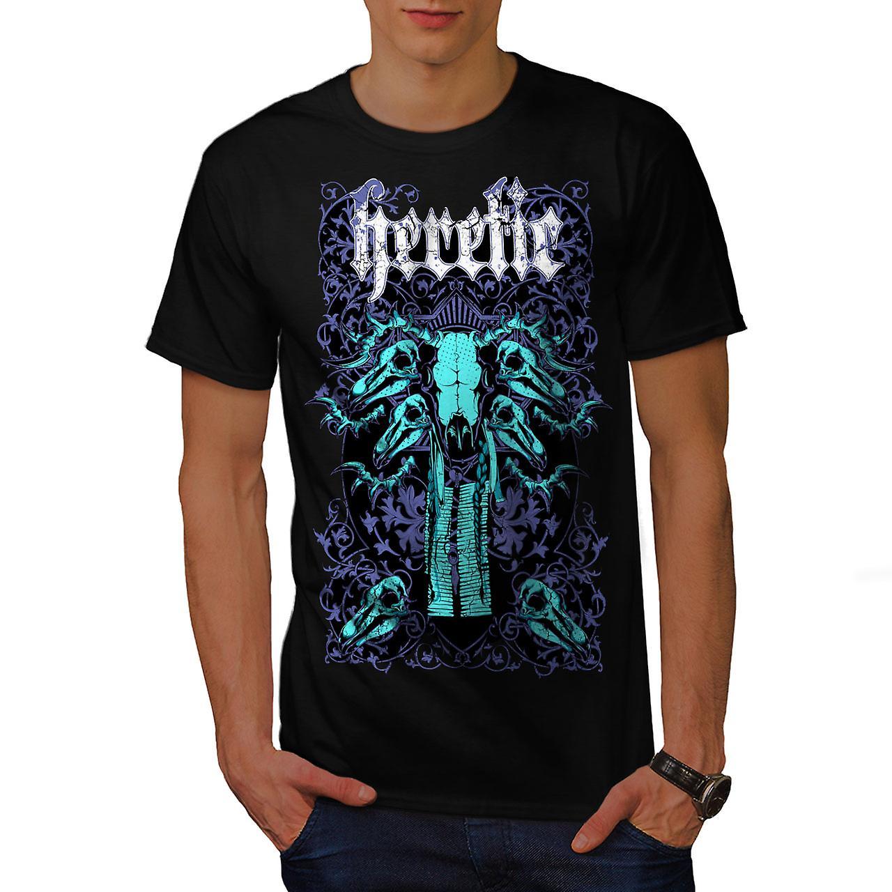 Heretic Badass Art Skull Men Black T-shirt | Wellcoda