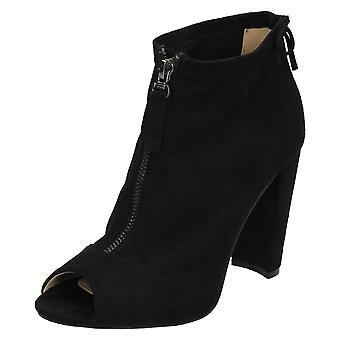 Ladies Spot On Peep Toe Ankle Boots F10724