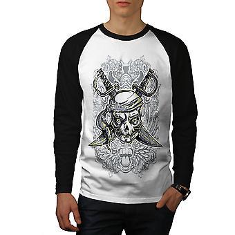 Kaptein pirat døde menn hvit (svart ermene) Baseball LS t-skjorte   Wellcoda