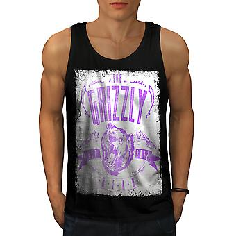Grizzly Bear Club Men BlackTank Top | Wellcoda