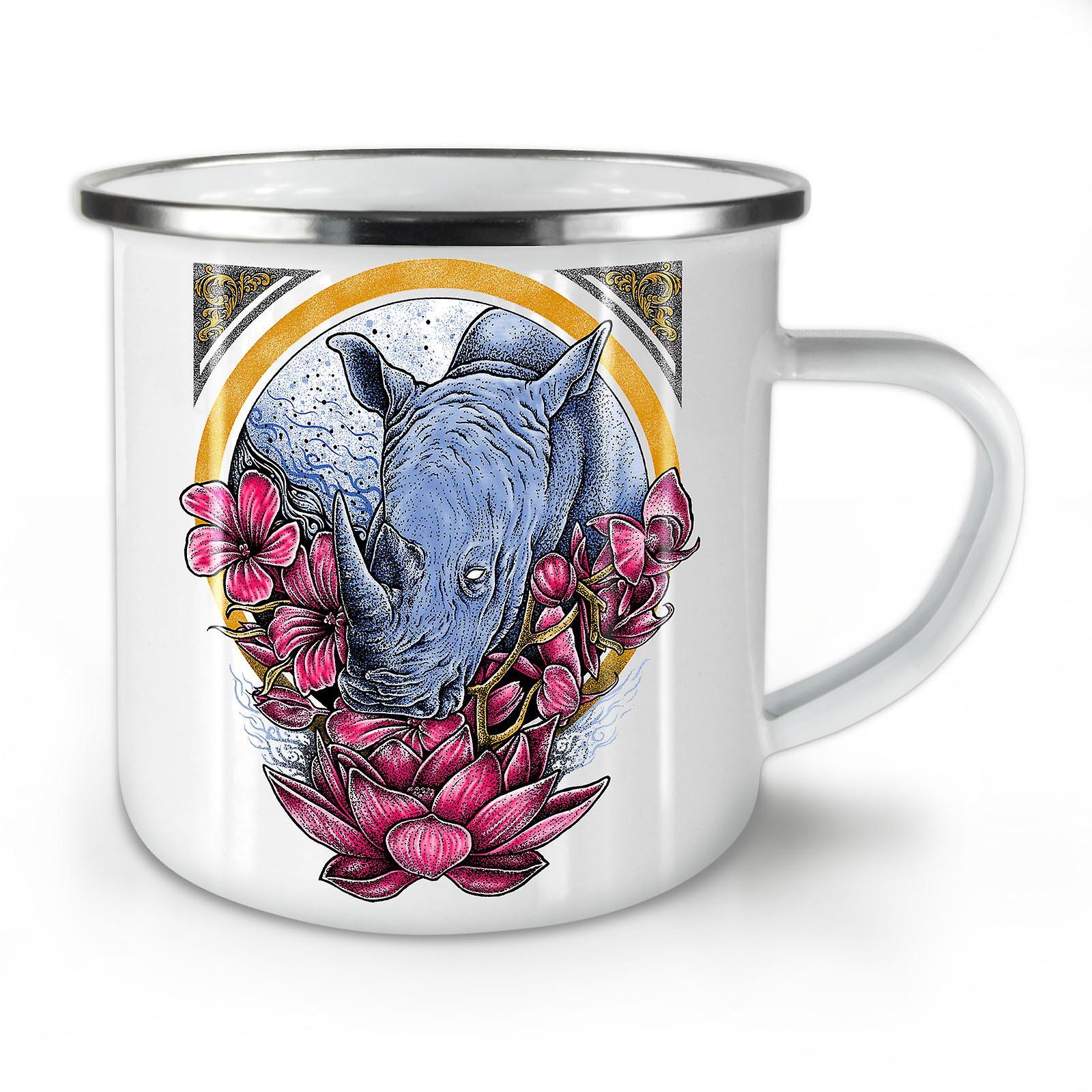 Rhino Fleurs Animal Émail Calme Mug10 Café OzWellcoda Nouveau Whitetea RAc34q5jL