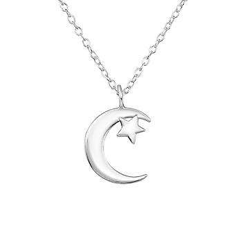 Moon And Star - 925 Sterling Silver Plain Necklaces - W34038x