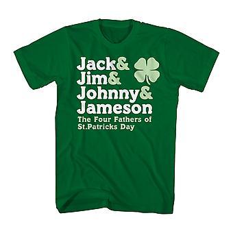 Humor fyra pappor mäns Kelly Green rolig T-shirt