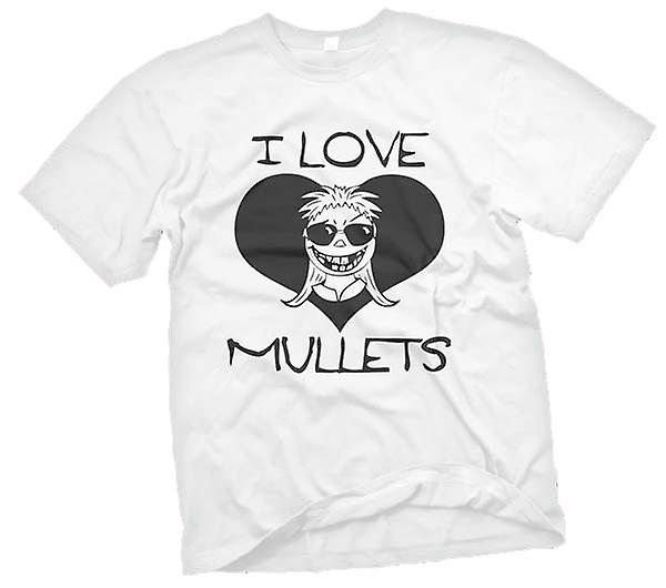 Mens T-shirt - I Love Mullets - Funny - Humour