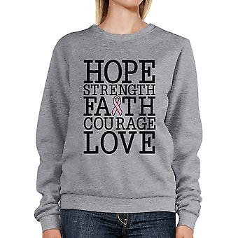 Hope Strength Faith Love Breast Cancer Support Sweatshirt Unisex