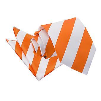 Oranje & wit gestreepte stropdas & zak plein Set
