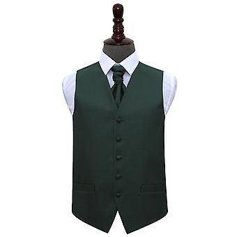 Dark Green Greek Key Wedding Waistcoat & Cravat Set