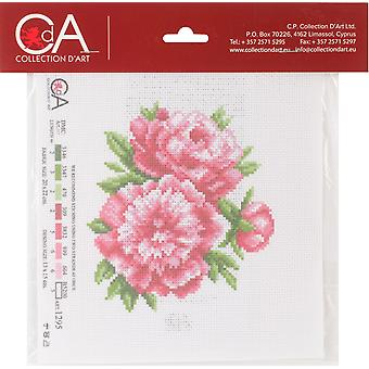 Collection D'art Stamped Cross Stitch Kit 20X22cm-Peonies