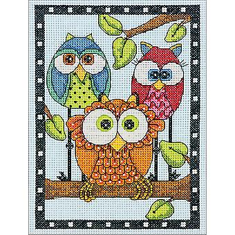 Owl Trio Mini Counted Cross Stitch Kit-5