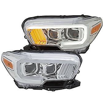 Anzo USA 111380 Projector Headlight Set Plank Style Clear Lens Chrome Housing Chrome/Amber w/LED DRL Pair Projector Head