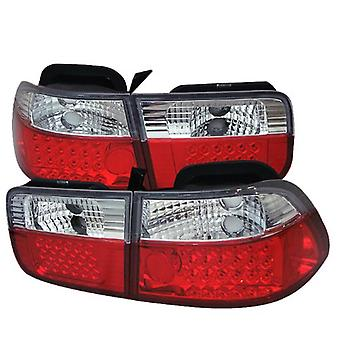 Spyder Honda Civic 96-00 2Dr LED Tail Lights - Red Clear