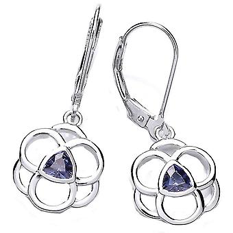 Cavendish French Celtic Cubic Zirconia Earrings - Silver/Blue