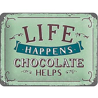 Livet sker chokolade hjælper små sjove Metal underskrive 200 Mm X 150 Mm