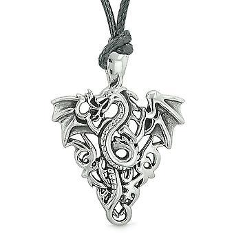 Amulett Flying Dragon keltischen Schutz Knoten Mut Feuer Flammen Glücksbringer Anhänger Halskette