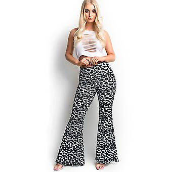 IKRUSH Womens Laurie Printed Flared Stretch Trousers