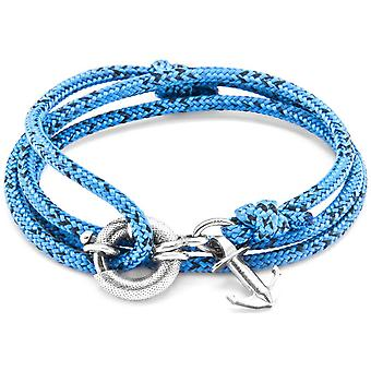 Anchor and Crew Clyde Silver and Rope Bracelet - Blue Noir