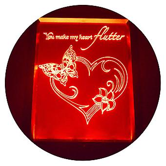 Flutter Butterfly Heart Colour Changing RC LED Mirror Light Frame
