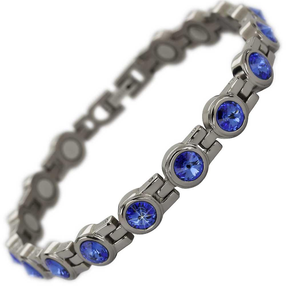 MPS® NORTHIA Titanium Magnetic Bracelet with Deep Blue Crystals + Resizing Tool