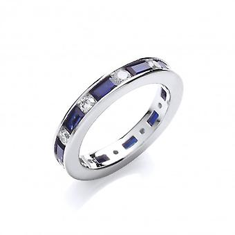 Cavendish French Sapphire Blue and Clear Cubic Zirconia Band Ring