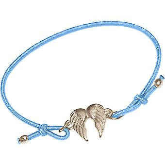GEMSHINE ladies or girls bracelet of double angel wing. Silver, gold plated or rose on the Blue Ribbon. Sustainable, quality jewelry made in Germany