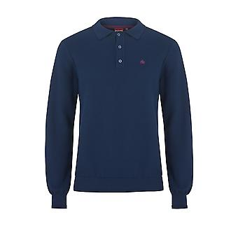 Merc COLLIER, men's cotton knit polo with long sleeves and quarter button placket
