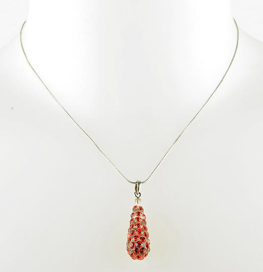 Waooh - Fashion Jewellery - WJ0264 - Necklace with Swarovski Strass Red color - Silver Chain