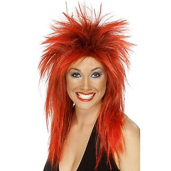 Long Red Spikey Wig, Rock Diva Wig, 1990's Fancy Dress Accessory