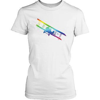 Regenboog dubbeldekker - Cool vliegtuigen dames T Shirt