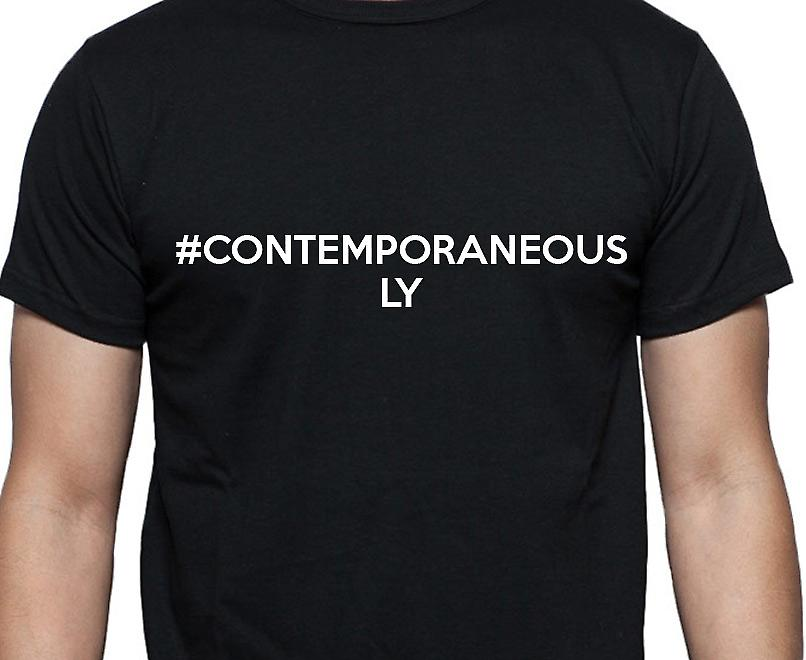#Contemporaneously Hashag Contemporaneously Black Hand Printed T shirt