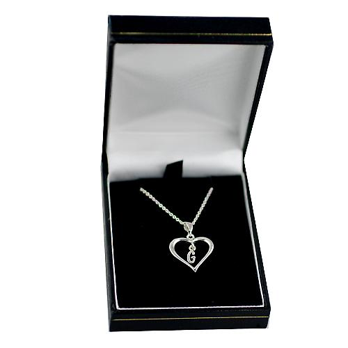 Silver 18x18mm initial G in a heart with rolo chain