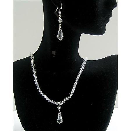 Custom Jewelry Clear Crystals Swarovski Crystals Teardrop Wedding Set