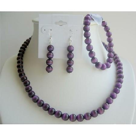 Purple Cat Eye Faceted Beads Necklace Stretchable Bracelet Jewelry Set