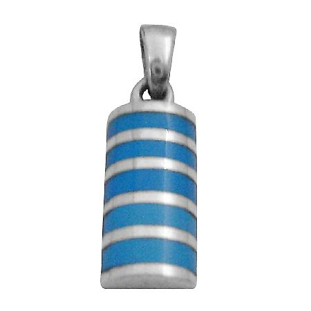 Stylish Pendant w/ Inlaid Turquoise Sterling Silver Pendant