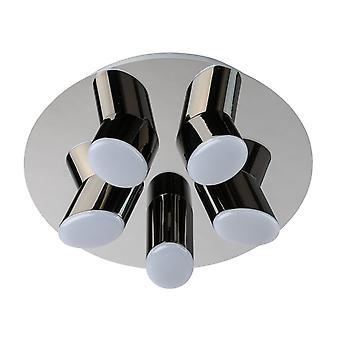 Glasberg - LED infälld ljus fem taklampa runda i krom och svart 609013605
