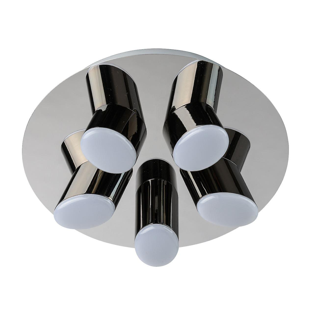 Glasberg - LED Flush Ceiling lumière Five lumière Round In Chrome And noir 609013605