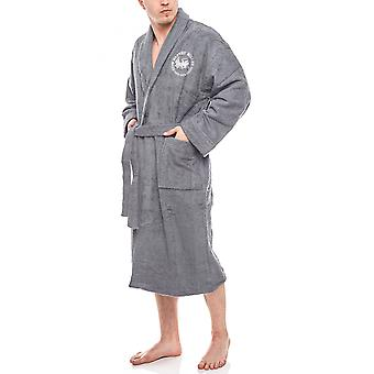Harvey Miller Polo Club of comfortable men's sauna coat with belt anthracite