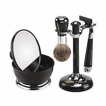 Famego Black Shaving Set With Mirror Shaving Bowl