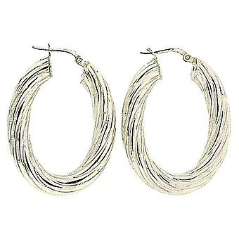 TOC Sterling Silver Oval Twisted Creole Hoop Earrings 36mm