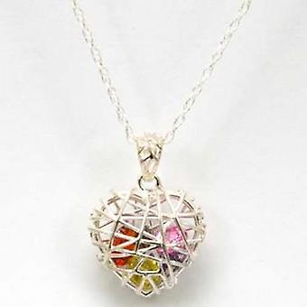 TOC Sterling Silver Multicoloured CZ's Caged Heart Pendant Necklace 18