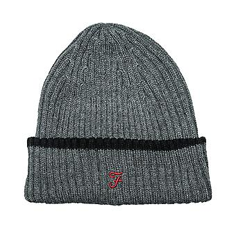 Junior Boys Farah Ribbed Beanie In Charcoal- Ribbed Construction- Tipped Brim-