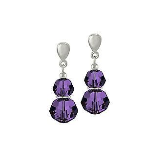 Eternal Collection Echo Purple Velvet Austrian Crystal Silver Tone Drop Pierced Earrings