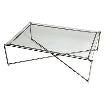 Gillmore Space Clear Glass Rectangular Coffee Table With Gun Metal Cross Base