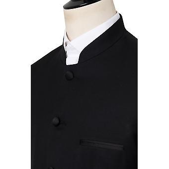 Dobell Herren schwarz Tuxedo Jacke regelmäßige Fit Mandarin Kragen