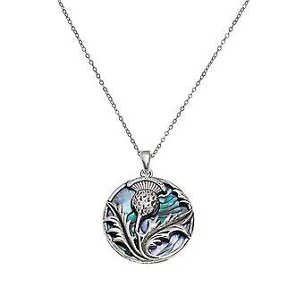 Eternal Collection Thistle Paua Shell Silver Tone Pendant