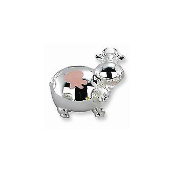 Pink Enameled Mini Cow Silver-plated Polished Metal Bank - Engravable Gift Item