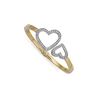 Jewelco London 9ct Yellow Gold hinged & CZ set light weight Heart Ladies Bangle