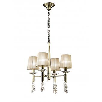 Mantra Tiffany Pendant 4+4 Light E14+G9, Antique Brass With Soft Bronze Shades & Clear Crystal